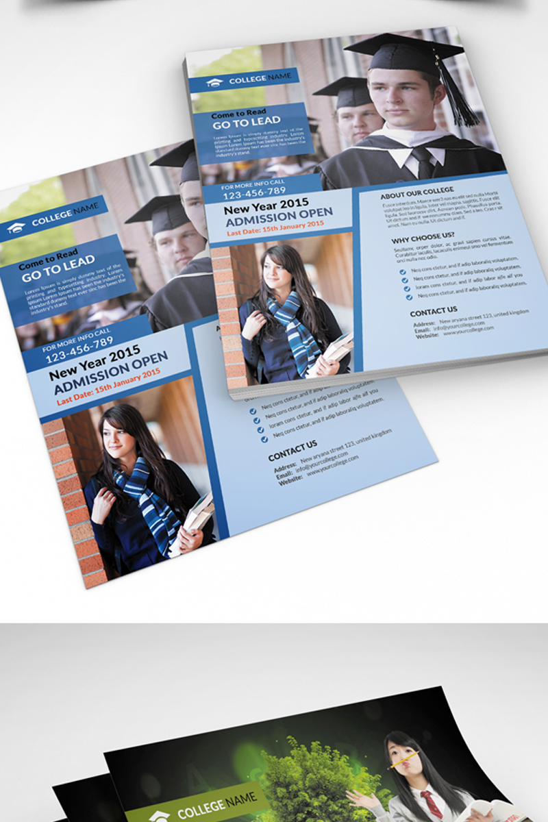 College And University Admission Flyer Corporate Identity