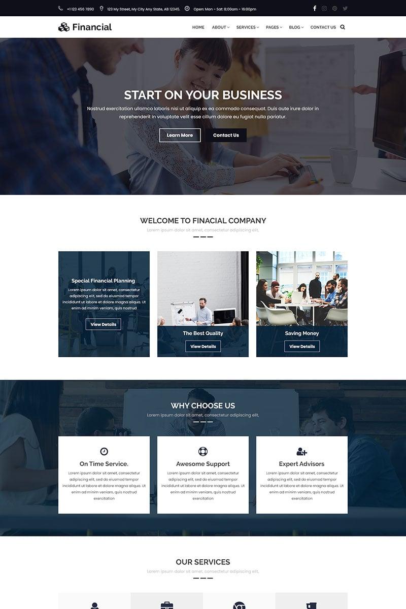 """Financial - Business & Finance Consulting"" modèle PSD adaptatif #69866 - screenshot"