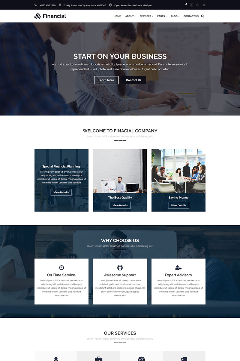 """Financial - Business & Finance Consulting"" Responsive PSD Template №69866 - screenshot"