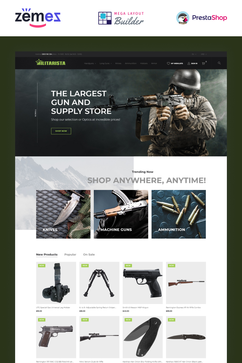 """Militarista - Magasin d'armes"" thème PrestaShop adaptatif #69865 - screenshot"