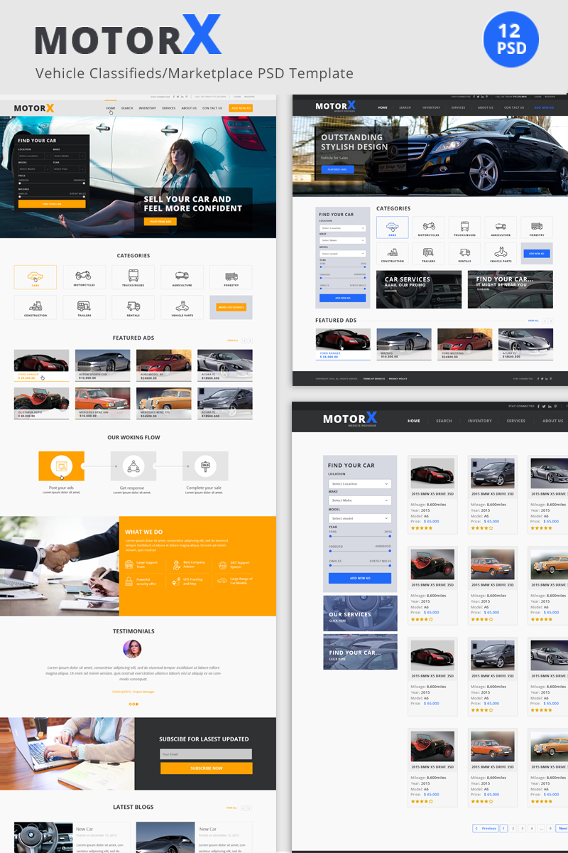 MotorX - Vehicle Marketplace PSD Template