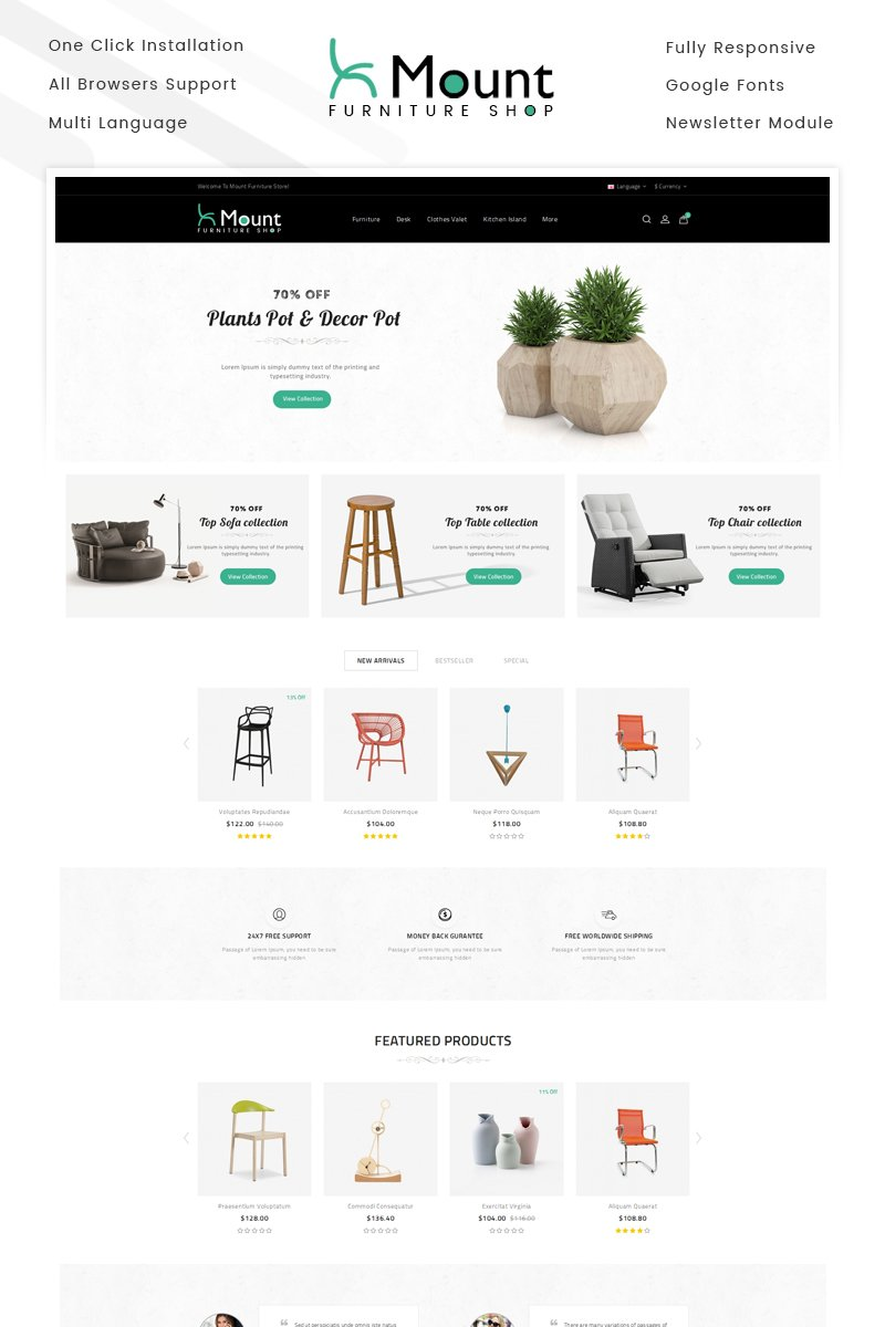 """Mount - Furniture Store"" Responsive OpenCart Template №69882"