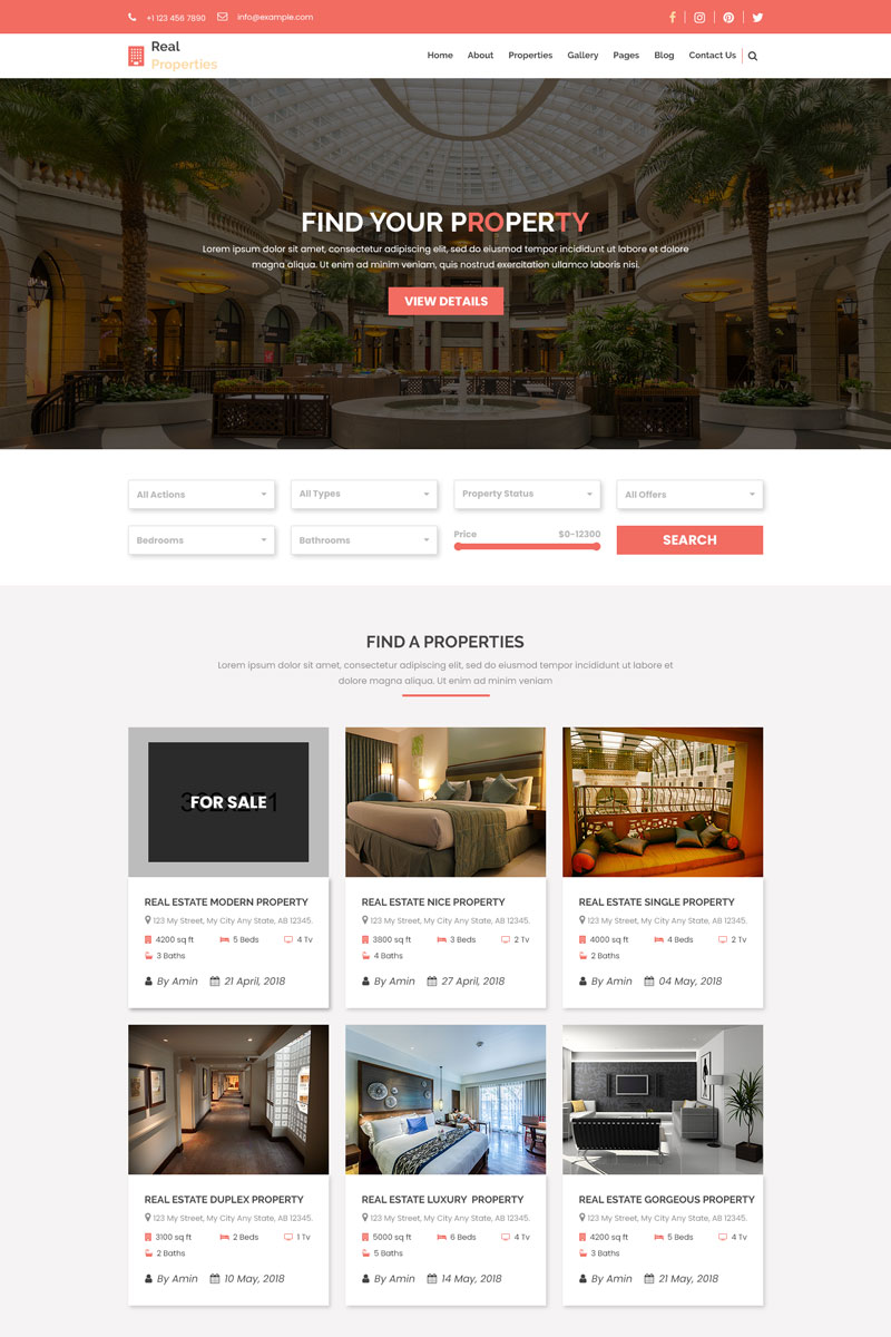Real-Properties - Real Estate PSD Template