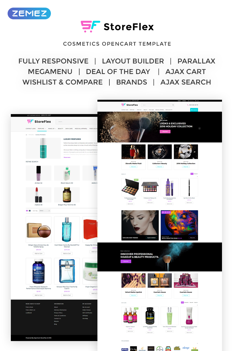 Responsive StoreFlex - Cosmetics & Makeup Opencart #69852