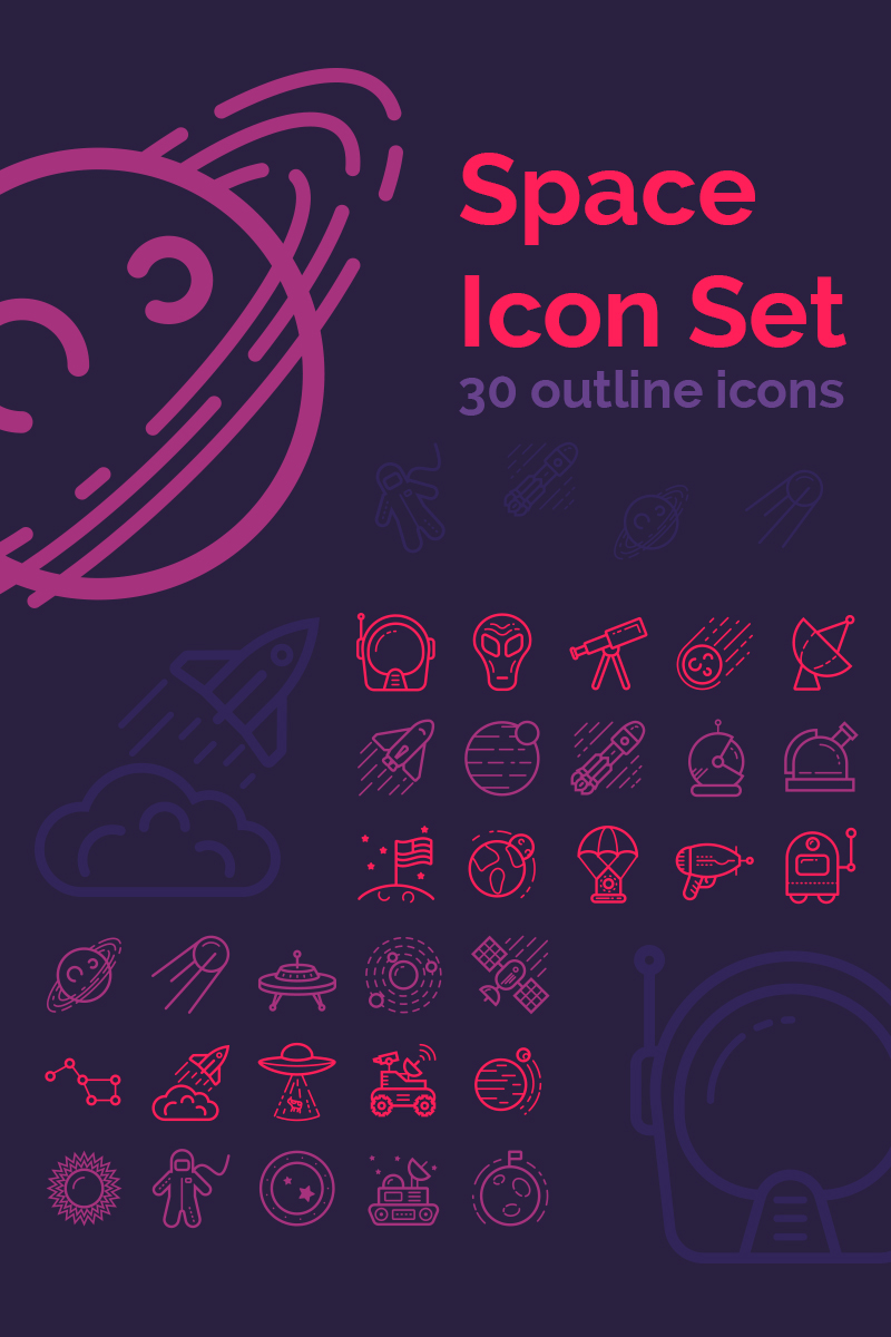 30 Space Iconset Template - screenshot