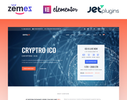 Cryptality - Cryptocurrency Elementor WordPress Theme