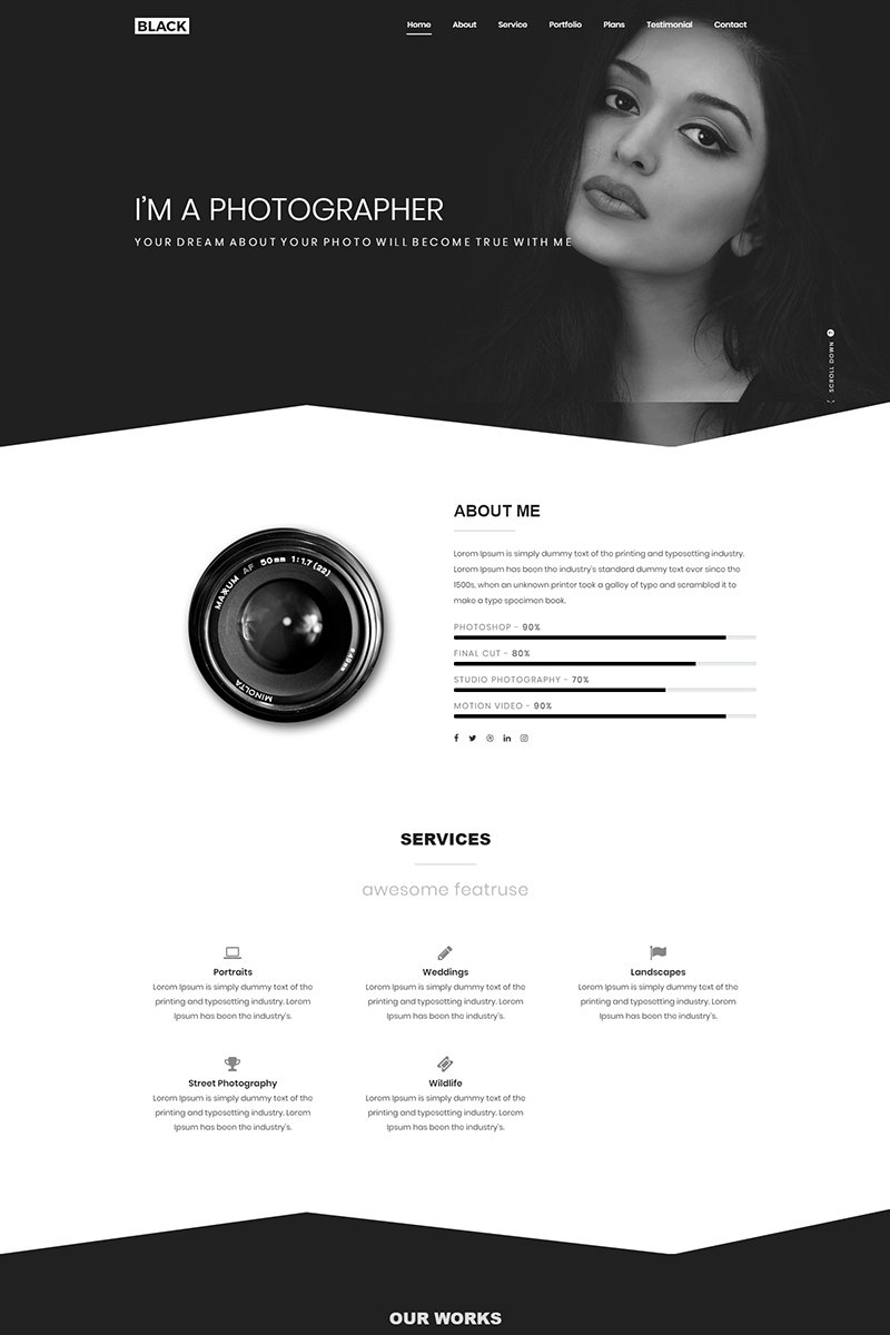 Black Creative One Page Portfolio Landing Page Template - screenshot