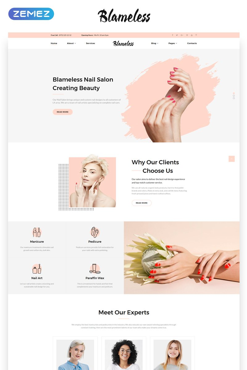 """Blameless - Nail Salon Multipage HTML5"" 响应式网页模板 #69974"