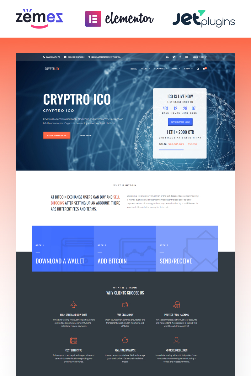 """Cryptality - Cryptocurrency Elementor"" - WordPress шаблон №69936 - скріншот"