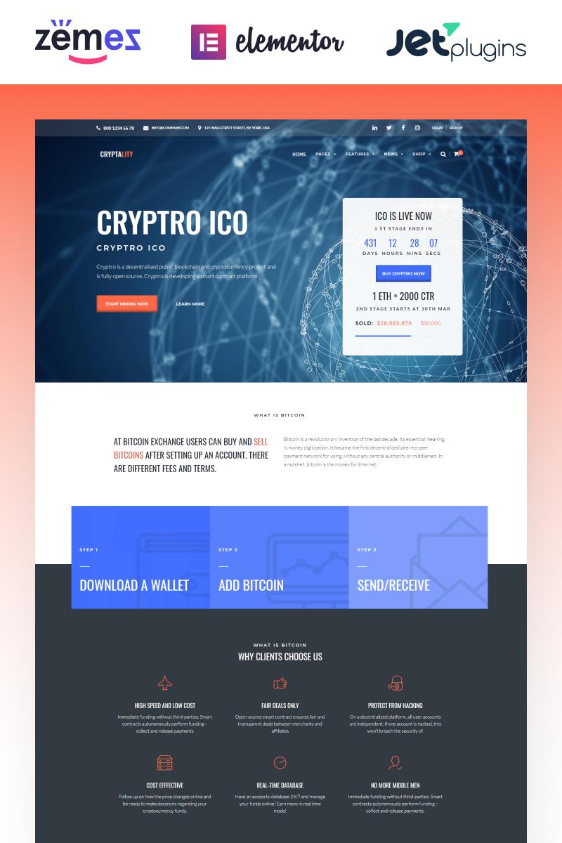 """Cryptality - Cryptocurrency Elementor"" WPML兼容性WordPress模板 #69936"