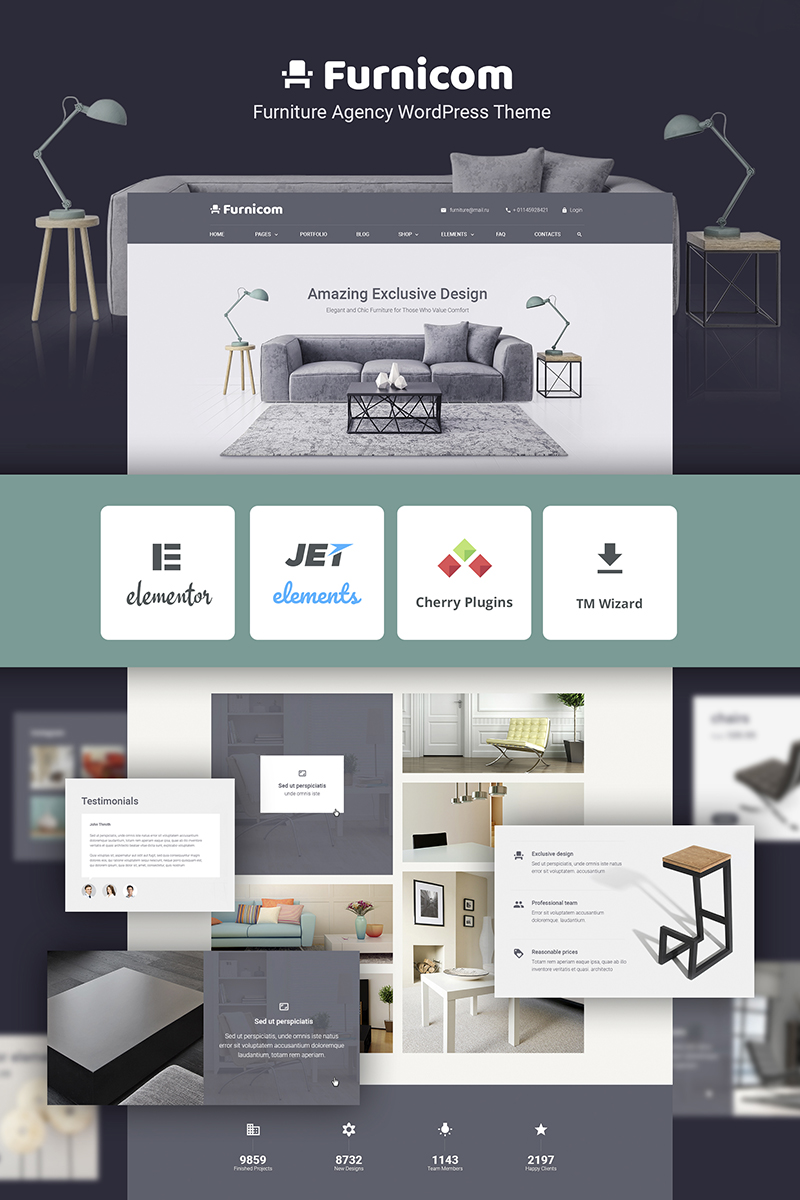 Free Furnicom -  Elementor Furniture Store Tema WordPress №69999