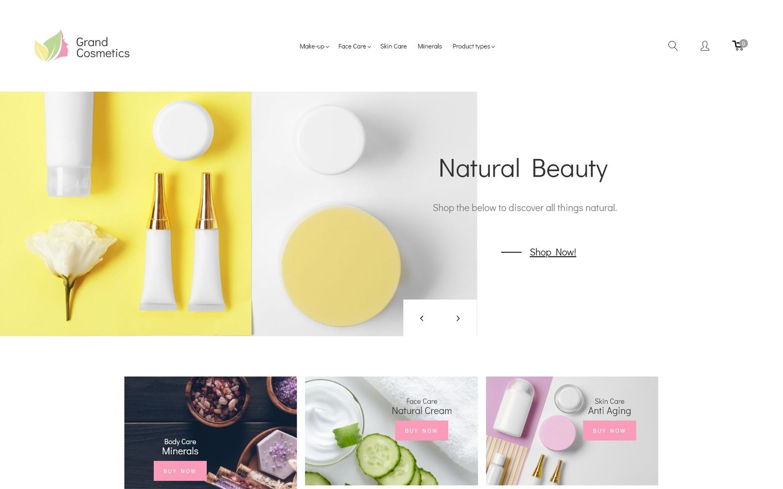 """GrandCosmetics - Cosmetics Store"" Responsive Magento Thema №69902"