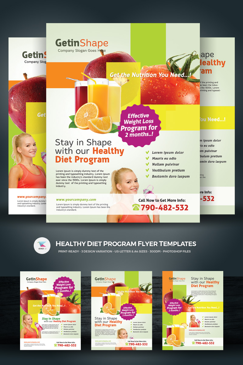 Healthy Diet Program Flyers Corporate Identity Template 69996