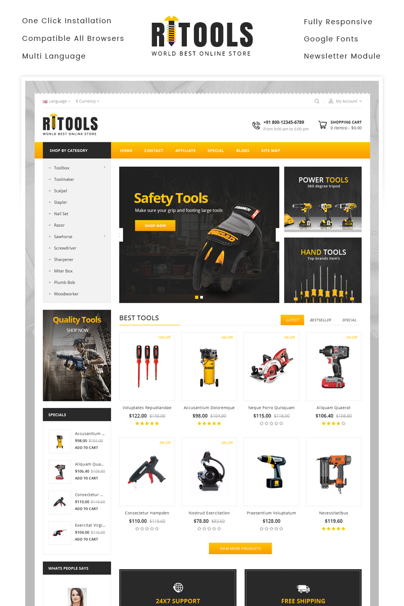 """Online Tools Store"" Responsive OpenCart Template №69910"