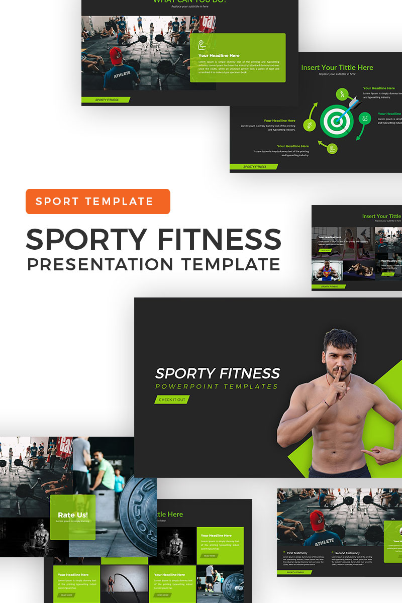 "PowerPoint Vorlage namens ""Sporty Fitness"" #69931"