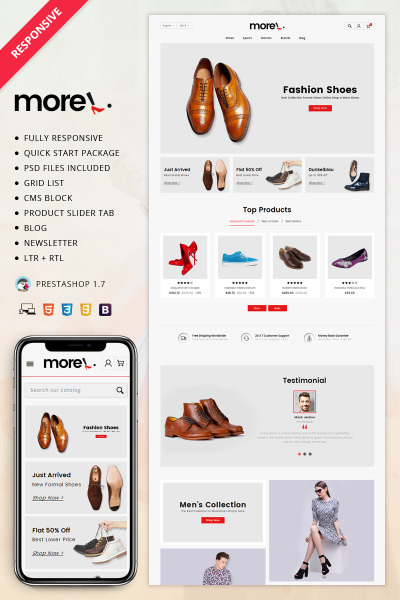 """PrestaShop шаблон """"More - Shoes Store"""" #69989"""