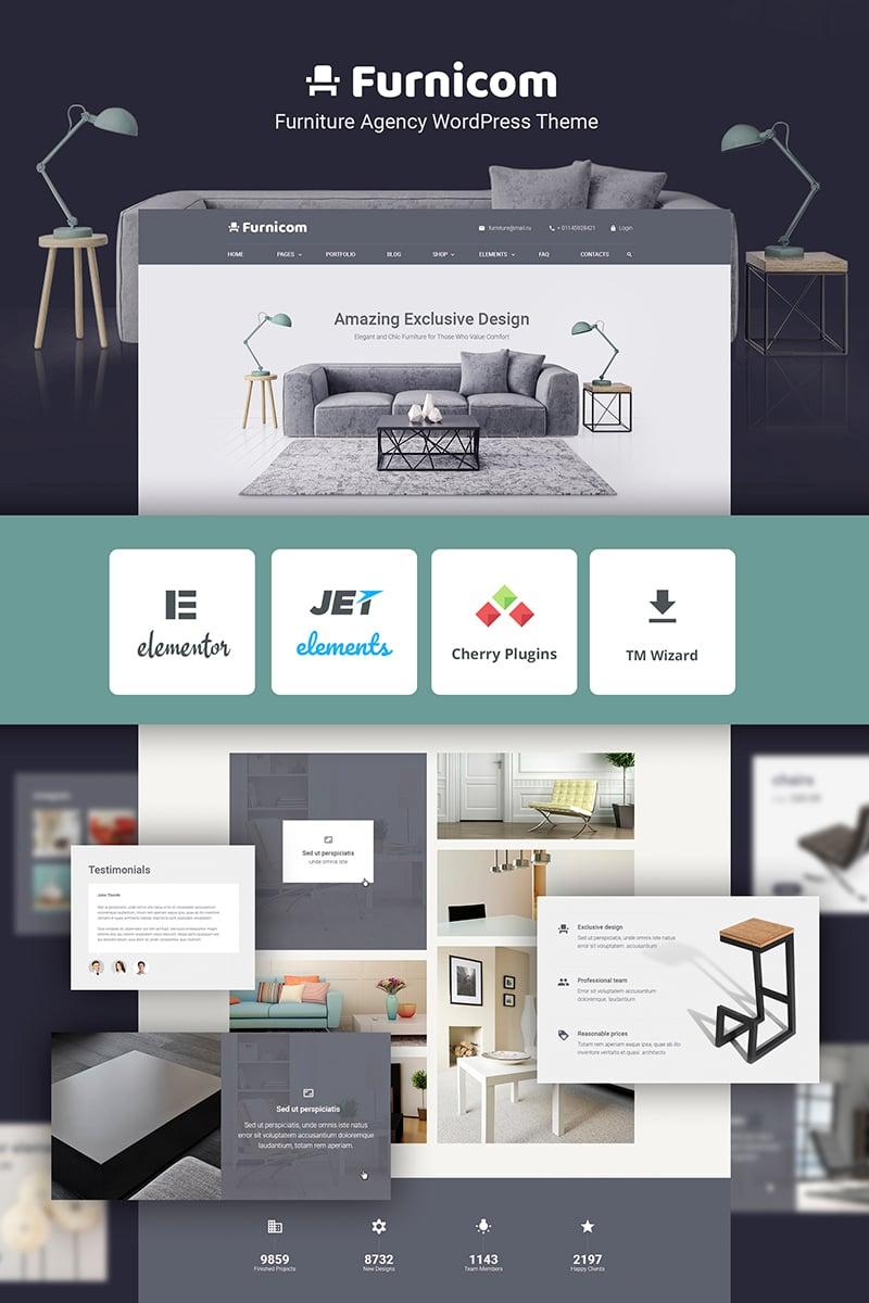 Responsivt Free Furnicom -  Elementor Furniture Store WordPress-tema #69999