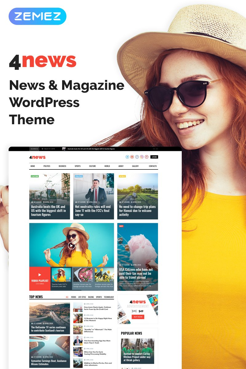 Reszponzív 4News - News & Magazine Elementor WordPress sablon 69946
