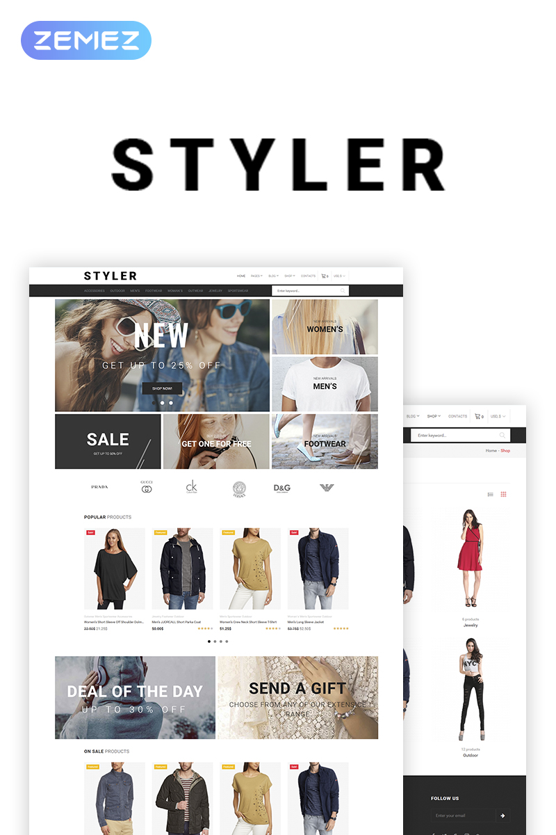 """Styler - Fashion"" Responsive WooCommerce Thema №69932"