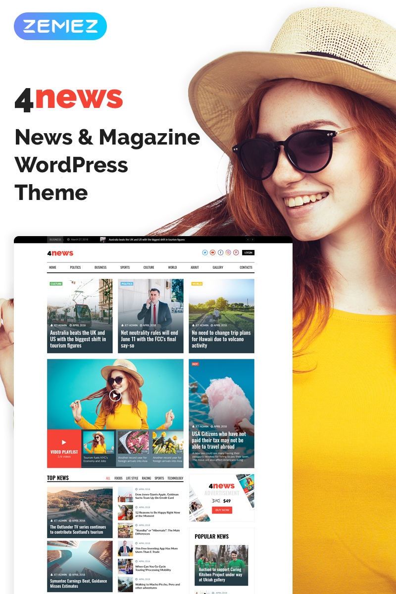 "Tema De WordPress ""4News - News & Magazine Elementor"" #69946"