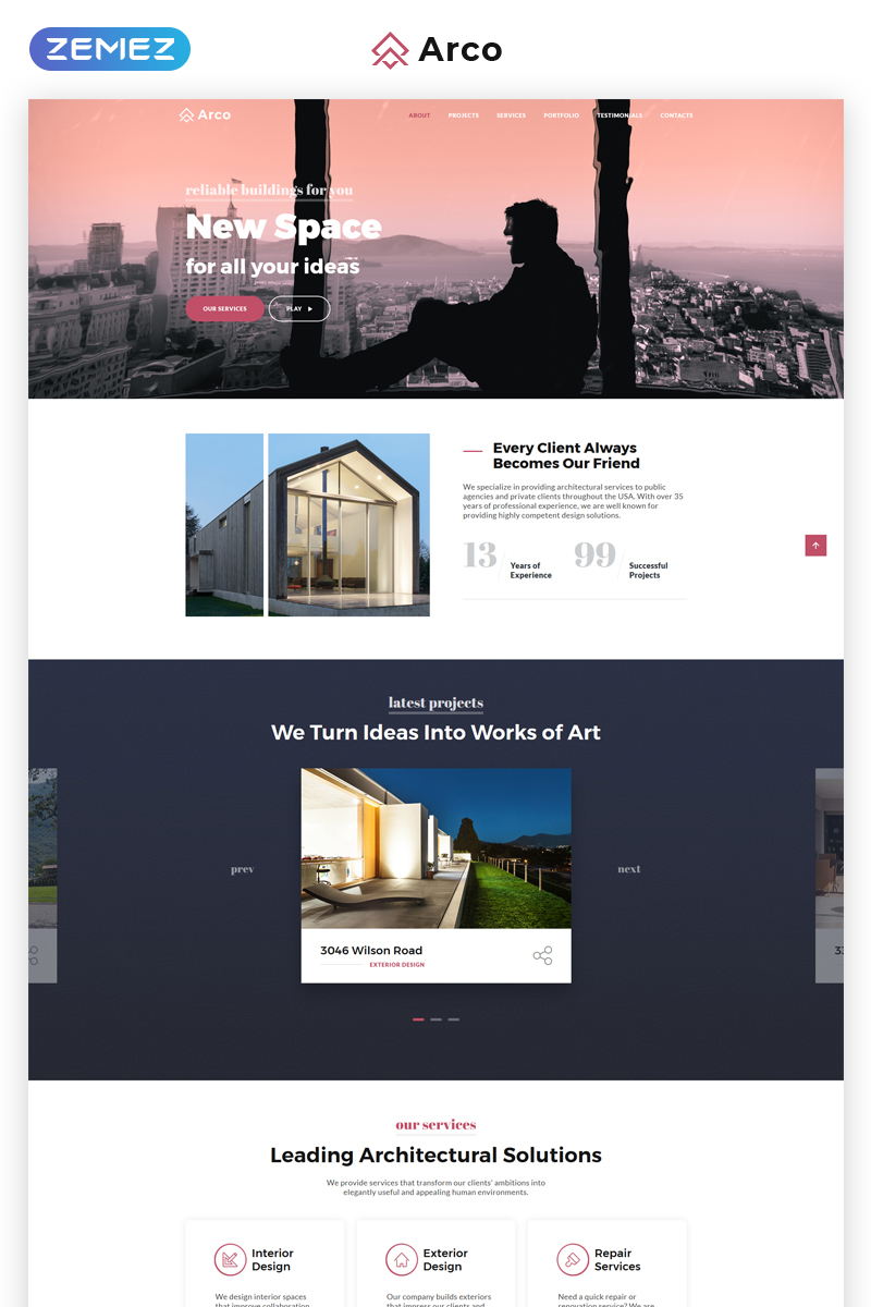 "Tema di Landing Page Responsive #69906 ""Arco - Elegant Architect Portfolio HTML"""