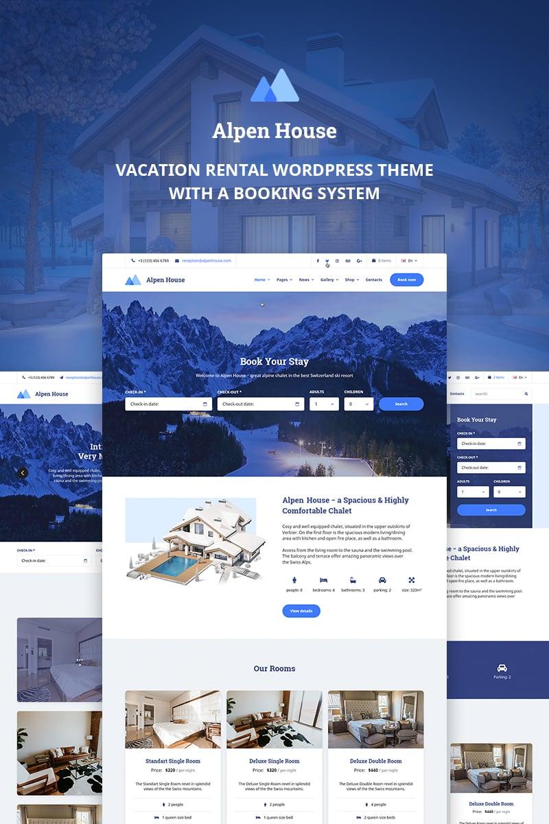 "Tema WordPress Responsive #69951 ""Alpen House - Vacation Rental"""