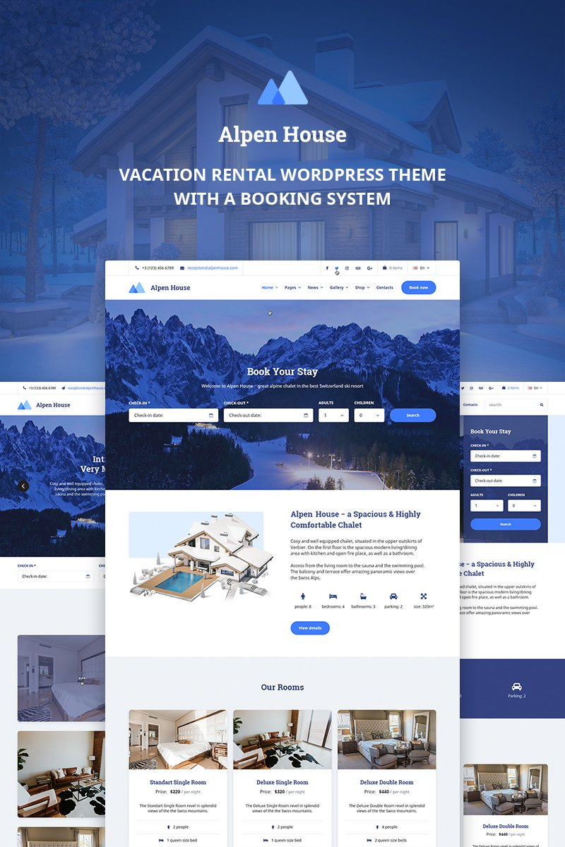 "Tema WordPress Responsive #69951 ""Alpen House - Vacation Rental"""