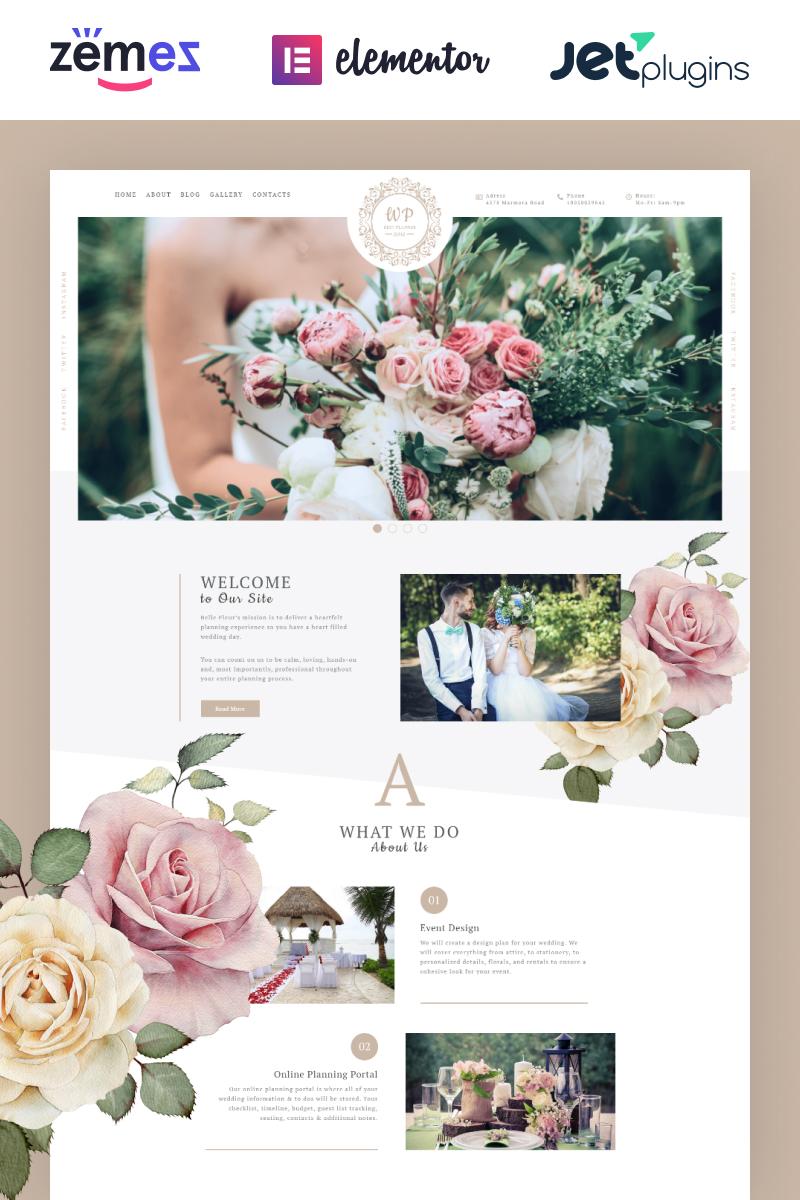 "Tema WordPress Responsive #69993 ""Belle Fleur - Wedding Landing Elementor"""