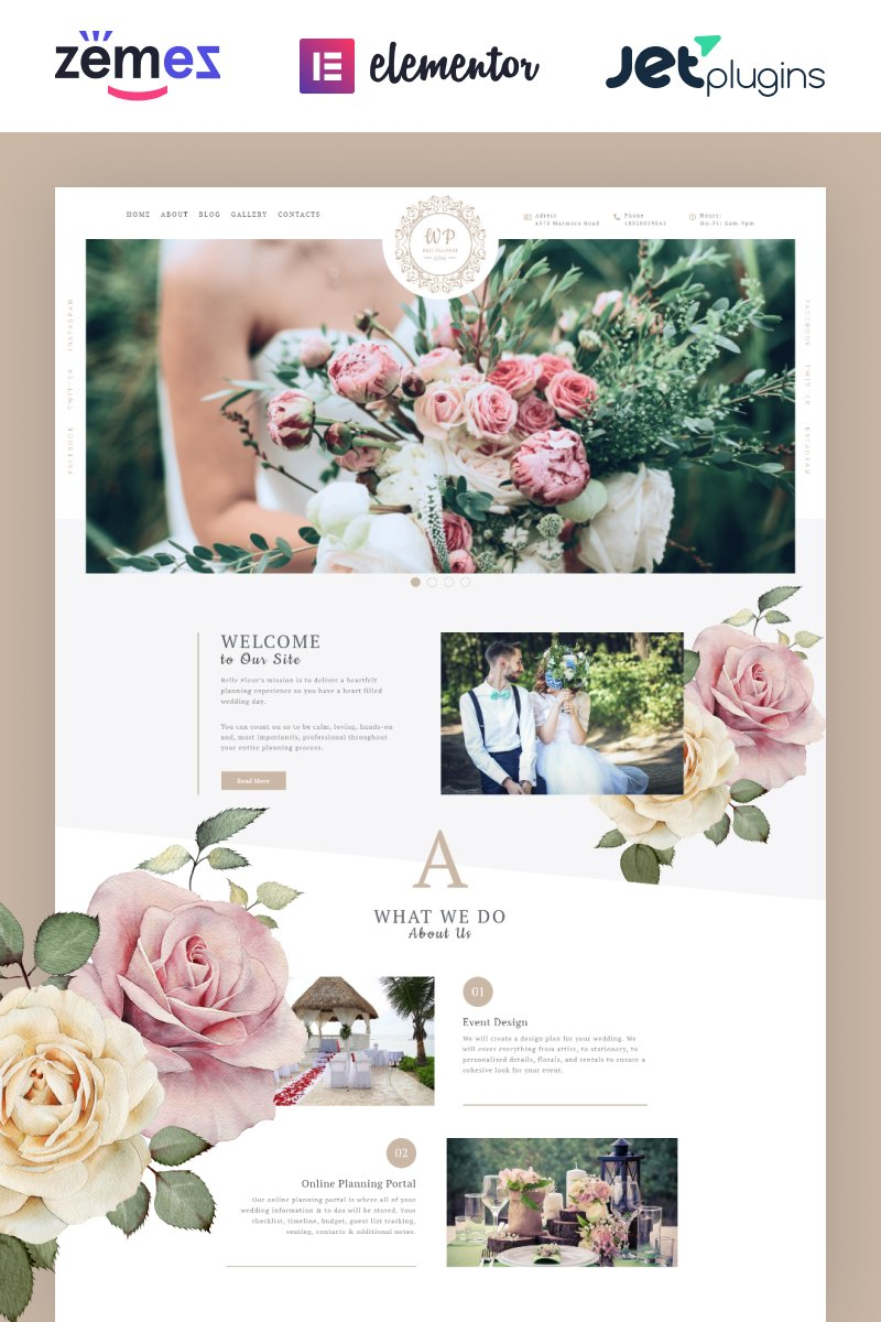 "Tema WordPress Responsive #69993 ""Belle Fleur - Wedding Landing Elementor"""