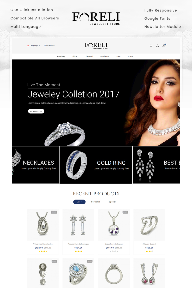 Website Design Template 70020 - diamond fashion accessories bags gifts minimal opencart responsive template theme quickstart testimonial blog newsletter unique