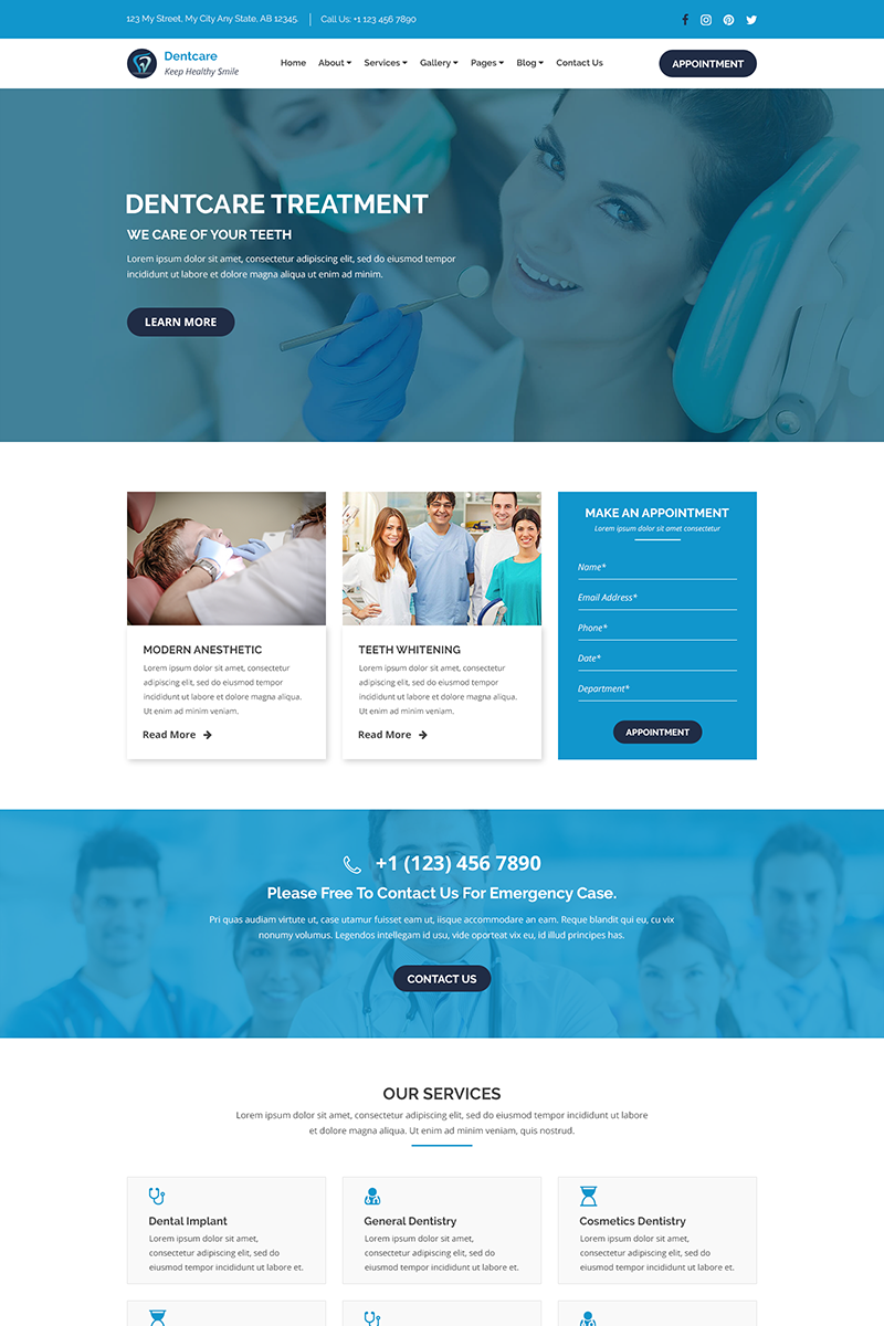 Dent-Care - Dental Clinic and Health PSD Template
