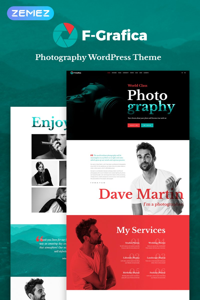 F-Grafica - Photography Elementor WordPress Theme - screenshot