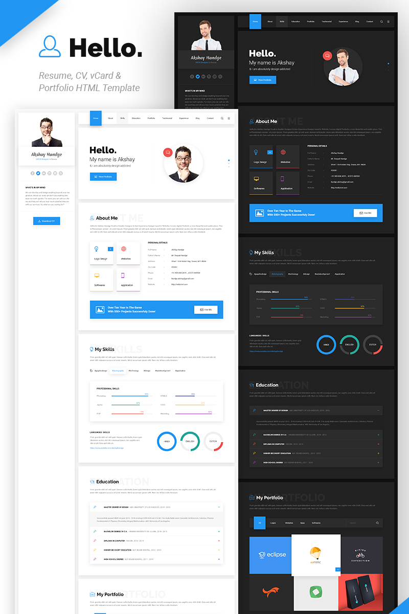 Hello Resume Cv Vcard Amp Portfolio Html Template Website
