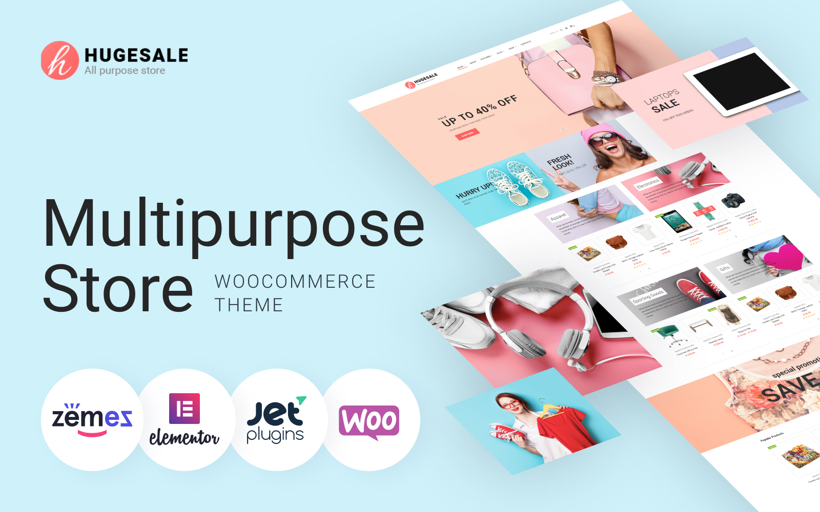 """Hugesale - Multipurpose Store Elementor"" Responsive WooCommerce Thema №70085"