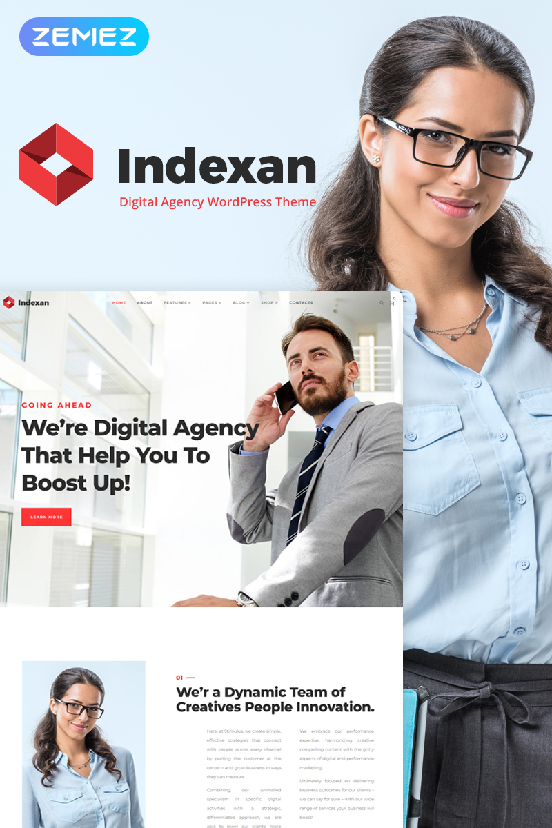 """Indexan - Digital Agency Elementor"" thème WordPress adaptatif #70042 - screenshot"