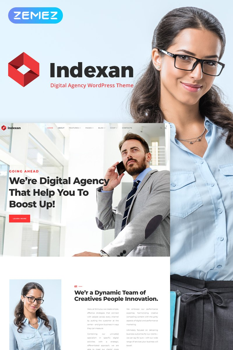 Indexan - Digital Agency Elementor WordPress Theme - screenshot
