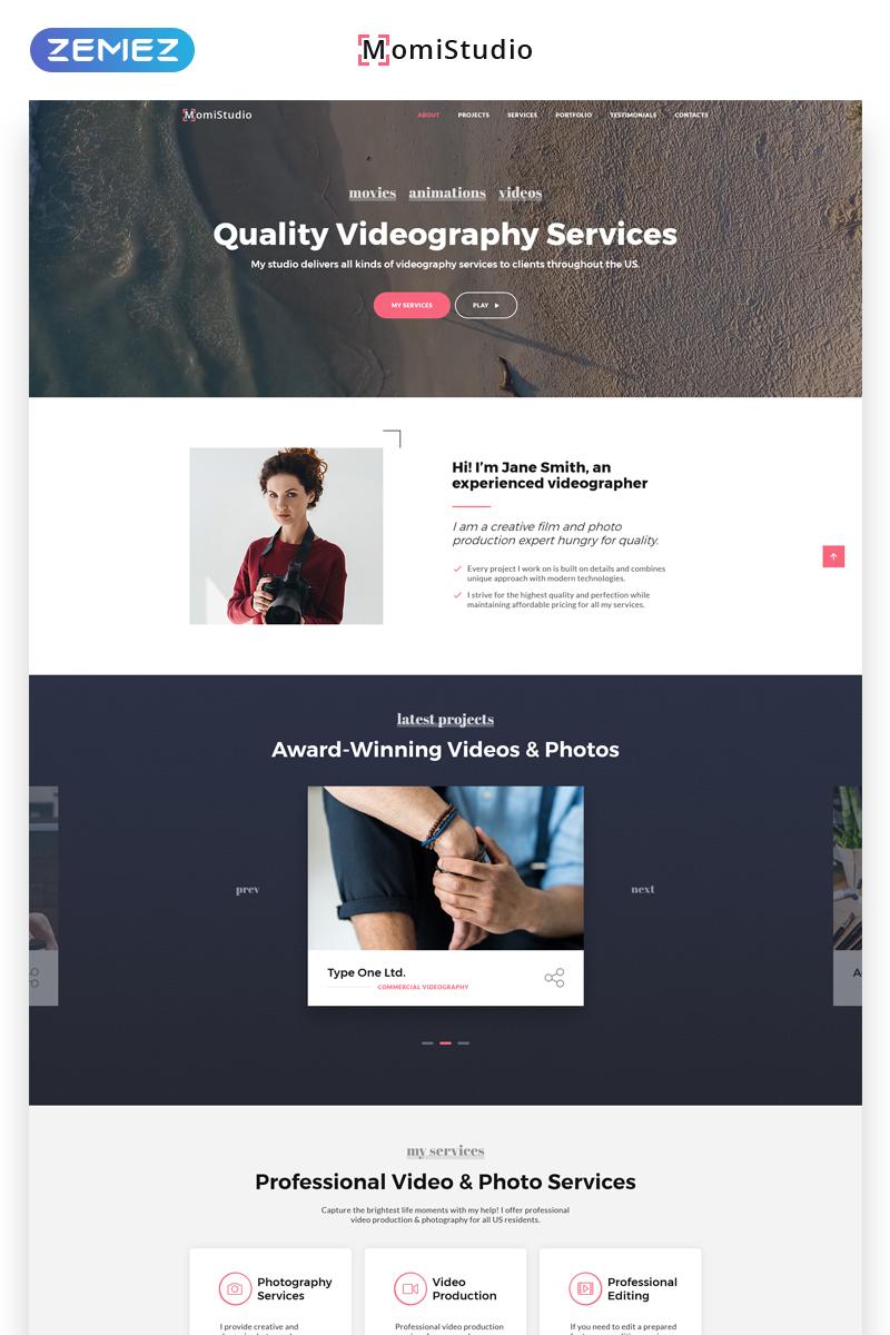 """""""MomiStudio - Videography Services HTML5"""" modèle  de page d'atterrissage adaptatif #70053"""
