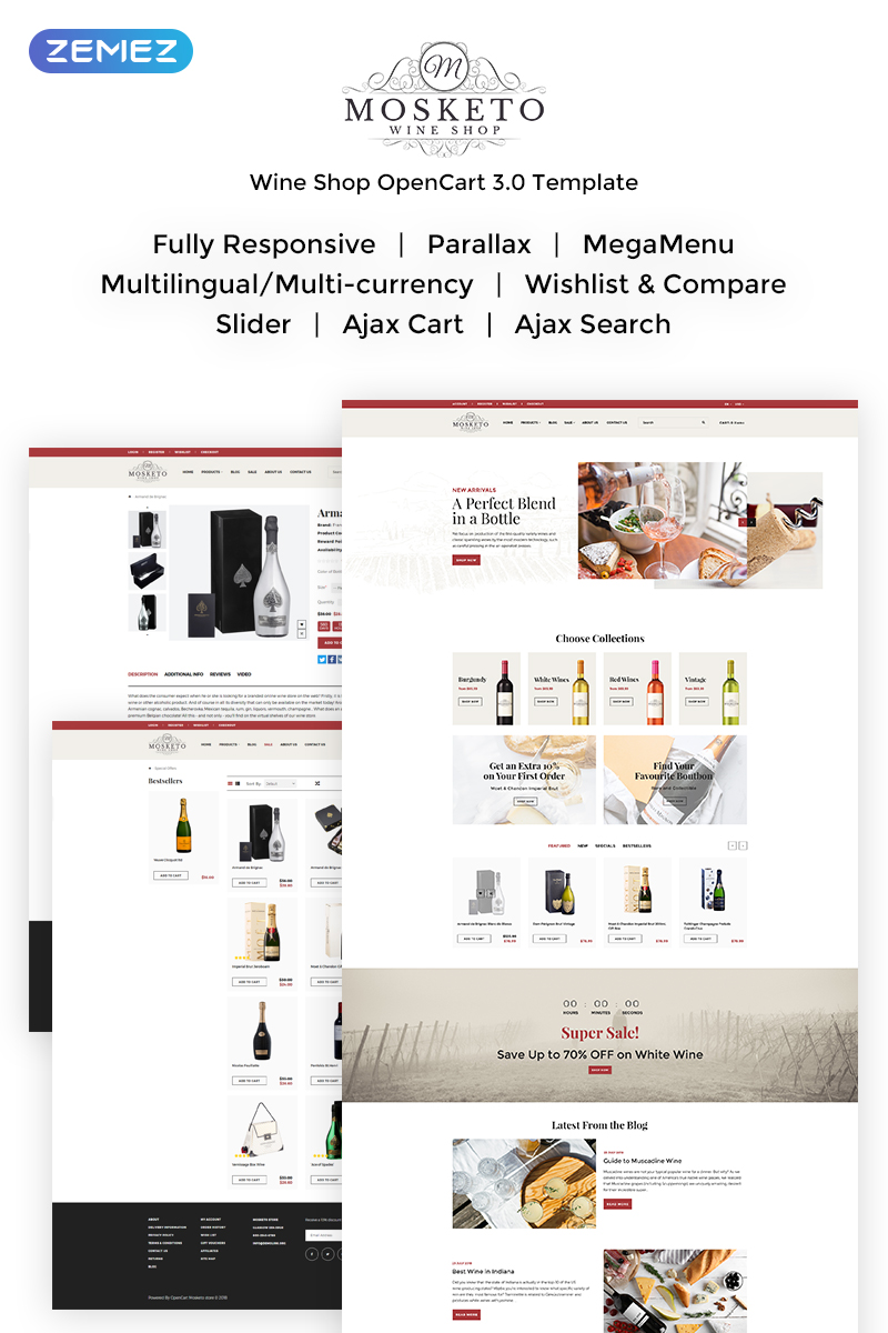 Mosketo - Wine Shop OpenCart Template