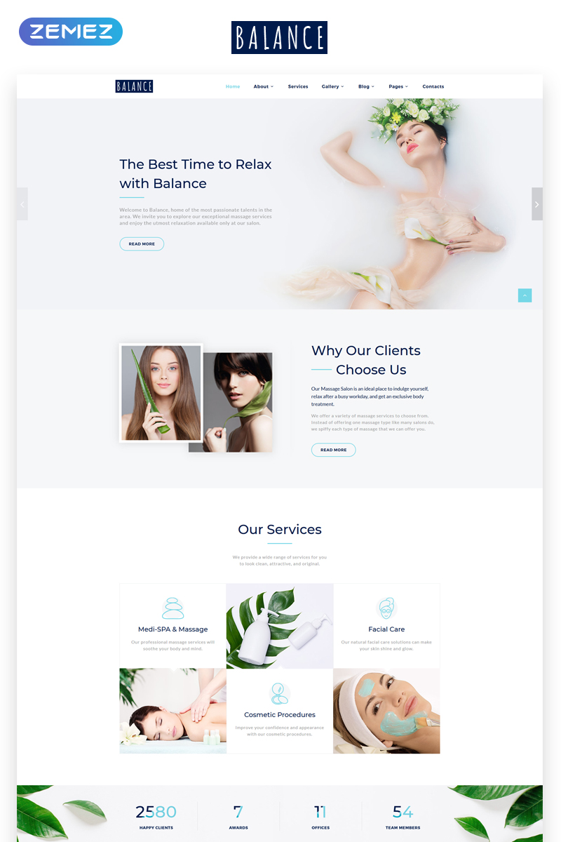 Responsive Balance - Elegant Massage Salon Multipage Web Sitesi #70019
