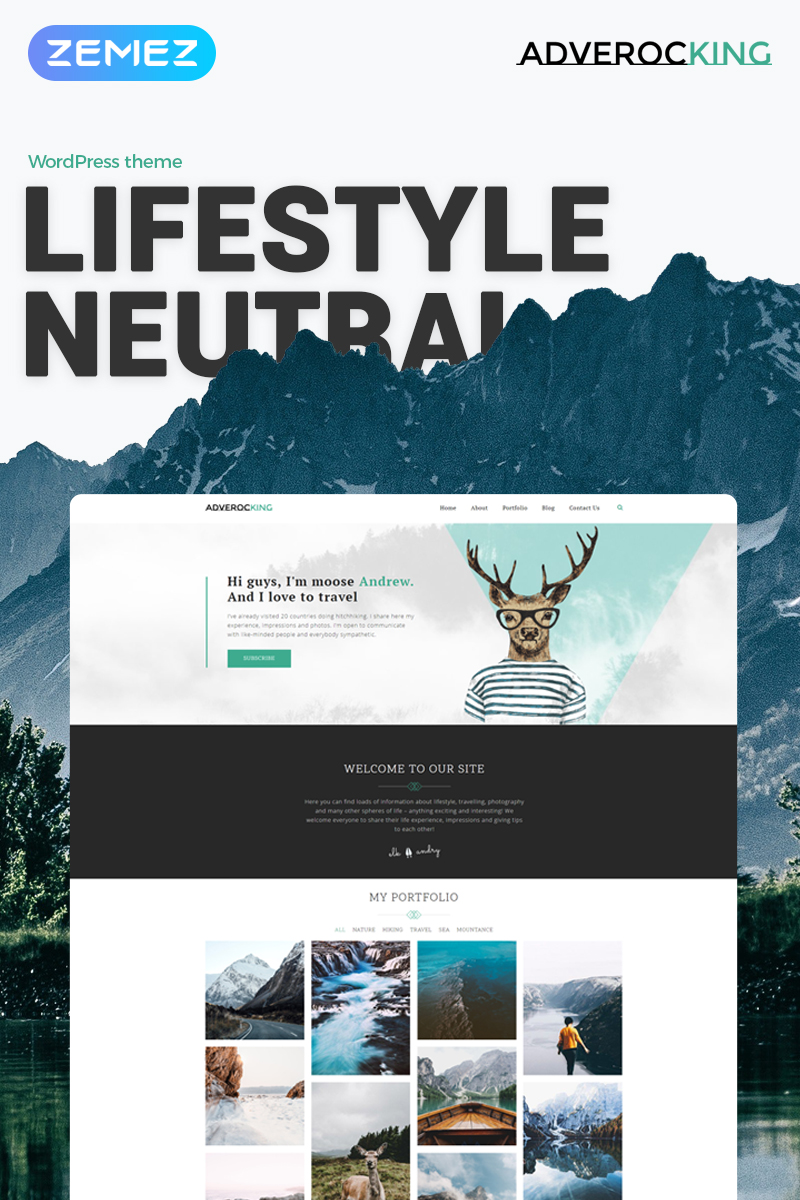 "Tema De WordPress ""Adverocking - Lifestyle Neutral Elementor"" #70063"