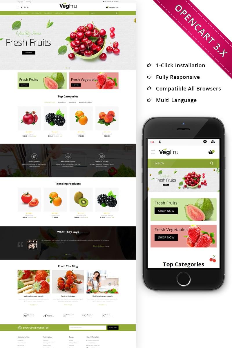 """Vegfru Organic Store"" 响应式OpenCart模板 #70011"