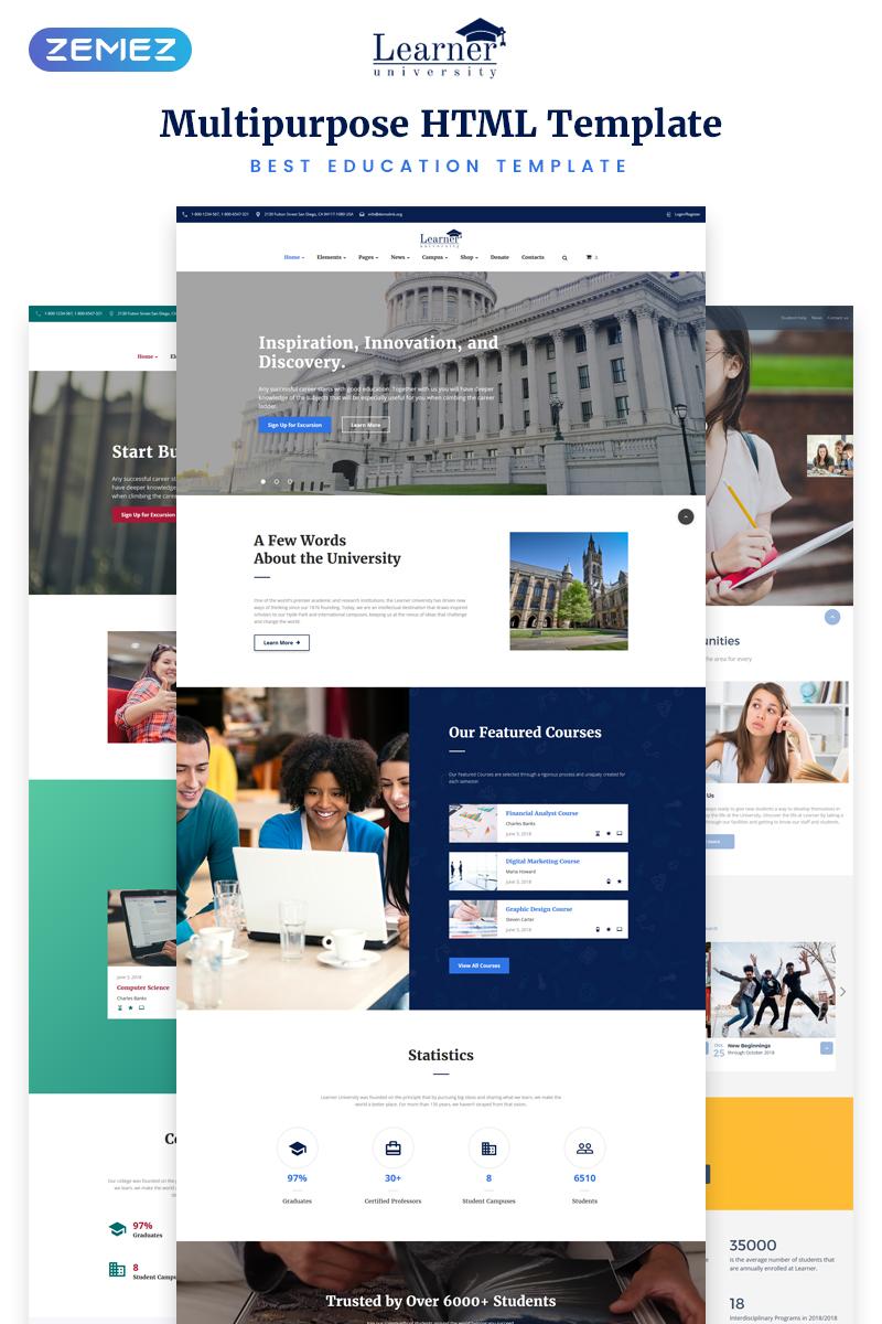 "Website Vorlage namens ""Learner - Education Multipurpose HTML5"" #70094"