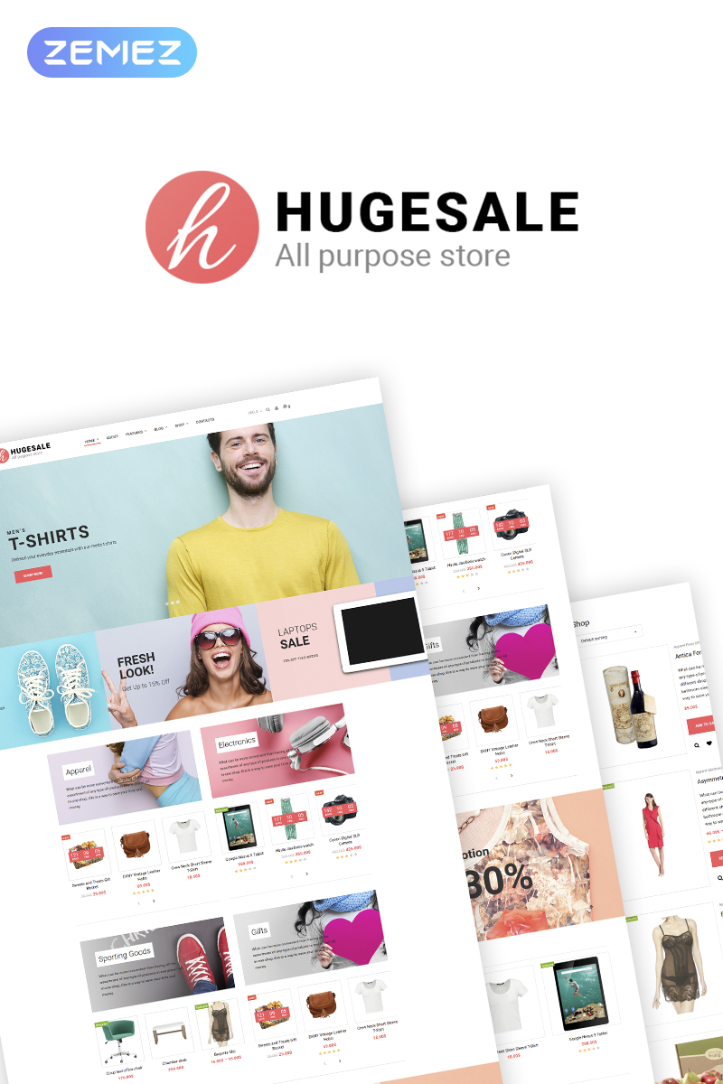 "WooCommerce Theme namens ""Hugesale - Multipurpose Store Elementor"" #70085"