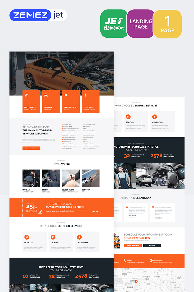 """Engirem - Car Repair Jet"" modèle Elementor  #70115"