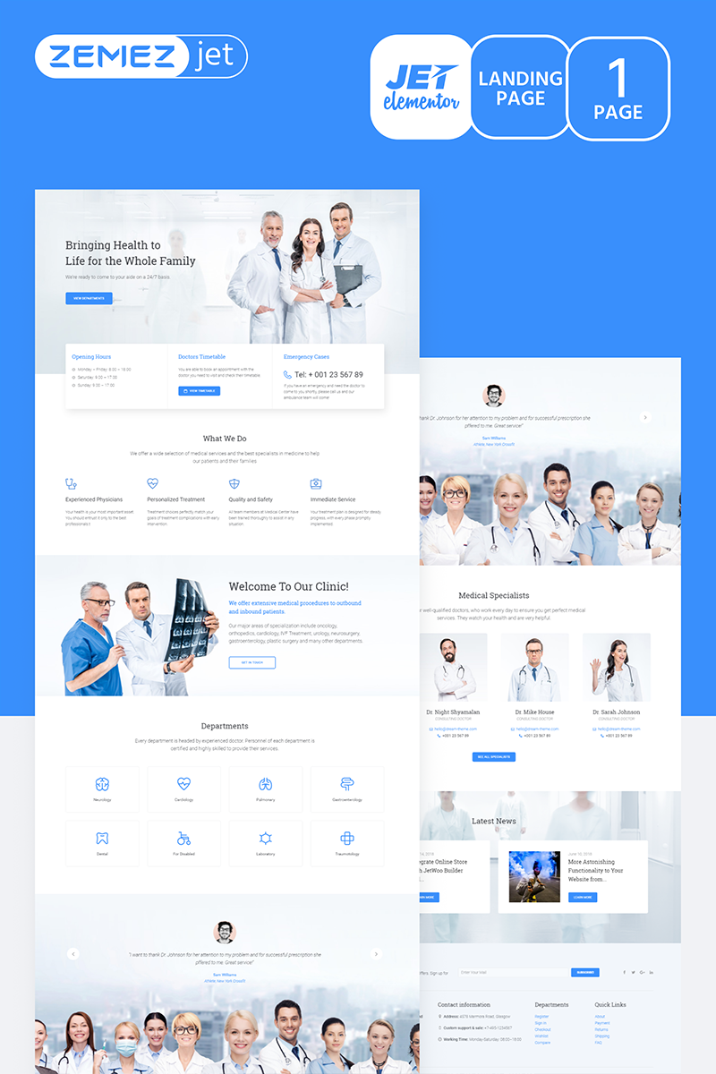 Healthen - Clean Medicine Jet Elementor Template #70137