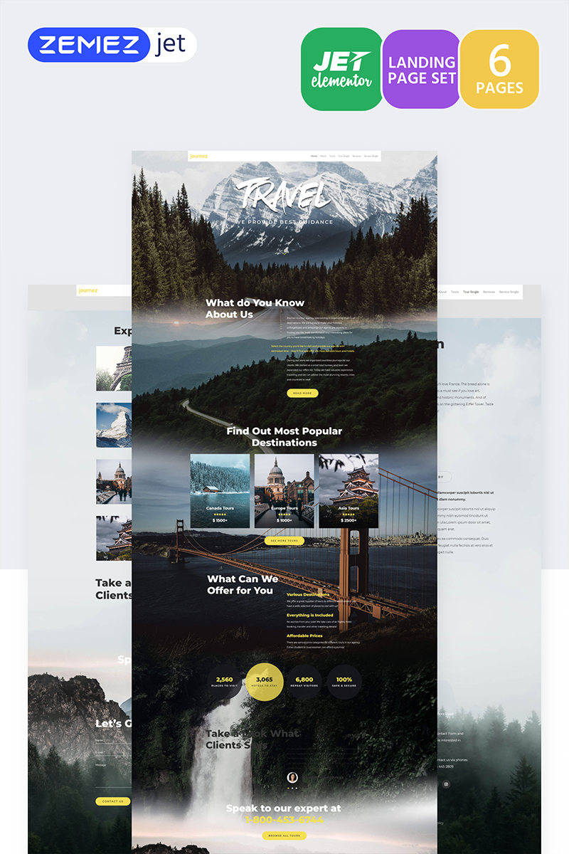 """Hottrip - Travel Agency Jet"" Elementor Template №70184"