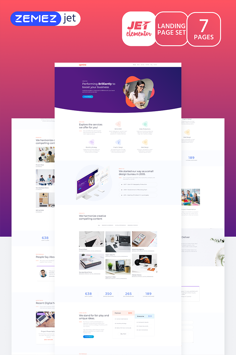 """Markent - Digital Agency Jet"" Elementor Template №70195"