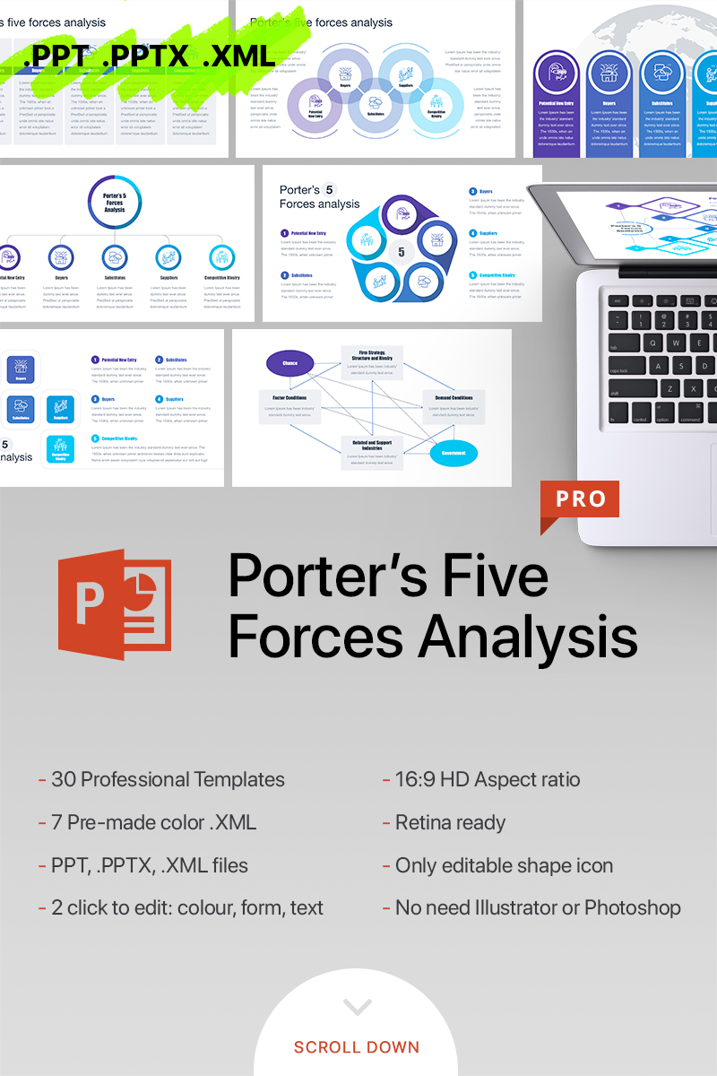 Porters Five Forces Analysis PowerPoint Template - screenshot