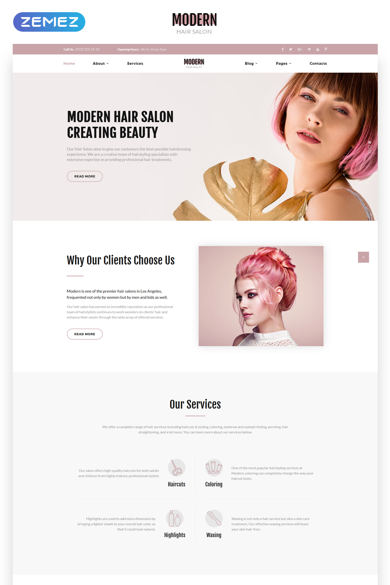 Reszponzív Modern - Vivid Hair Salon Multipage Weboldal sablon 70125