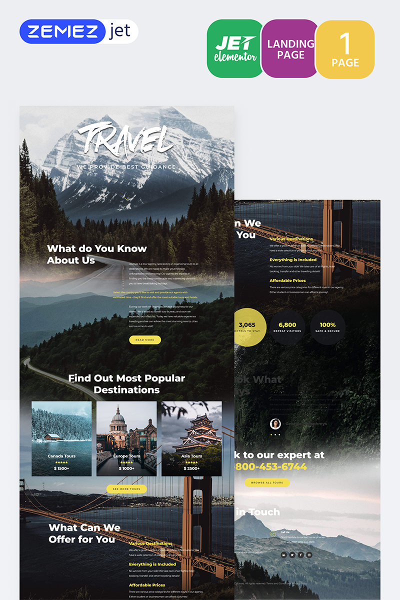 Tournet - Travel Agency Jet Elementor Template